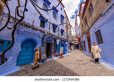 CHEFCHAOUEN, MOROCCO - APRIL 11, 2016: Handmade gift shop in Chefchaouen, Marocco.