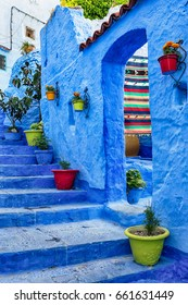 Chefchaouen Morocco. Blue medina with colourful details.