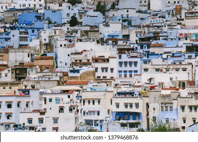 CHEFCHAOUEN, MOROCCO - CIRCA MAY 2018: Houses in Chefchaouen in northwest Morocco. The town is famous for its buildings in shades of blue.