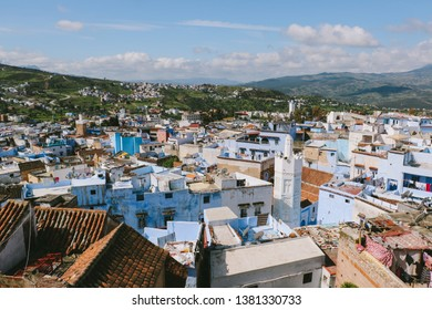 CHEFCHAOUEN, MOROCCO - CIRCA MAY 2018: Aerial view of houses in the medina of Chefchaouen in northwest Morocco. The town is famous for its buildings in shades of blue.