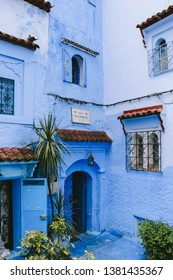 CHEFCHAOUEN, MOROCCO - CIRCA MAY 2018: A guesthouse in the medina of Chefchaouen, northwest Morocco. The town is famous for its buildings in shades of blue.