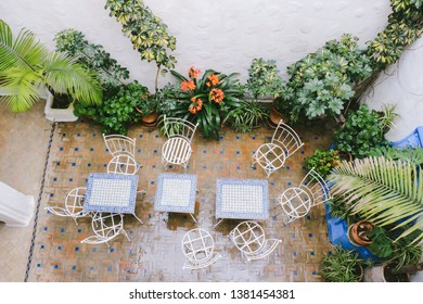 CHEFCHAOUEN, MOROCCO - CIRCA MAY 2018: Patio of a house in the medina of Chefchaouen, northwest Morocco.