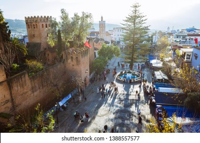 Chefchaouen, Morocco - December, 30th, 2018 : High angle view of the Kasbah fortress at Uta el-Hammam main square.