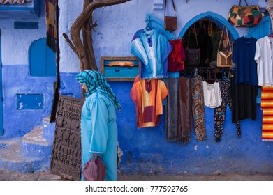 CHEFCHAOUEN, MOROCCO: May 20 2016: Street life in the Blue city of Chefchaouen, one of the touristi destinations of Morocco, Africa