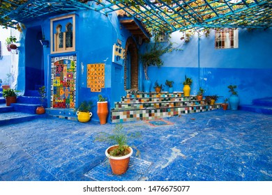 Chefchaouen, Morocco - November 19, 2017: Decorated entrance into rustic riad in Chefchaouen in Morocco