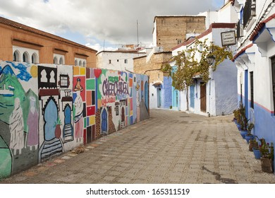 CHEFCHAOUEN, MOROCCO, NOVEMBER 20: street of the Blue city of Chefchaouen, one of the trendiest destination in the North of Morocco, 2013