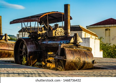 Chefchaouen, Morocco - October 20, 2013. Old steamroller