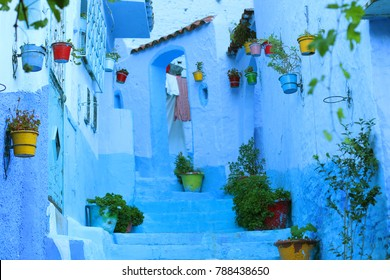 Chefchaouen, Morocco/Africa - August 08 2017 : Blue walls in the blue pearl city of Morocco, Chefchaouen Medina
