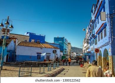 Chefchaouen/Marocco - December 24, 2018; Street views in Chefchaouen, Marocco