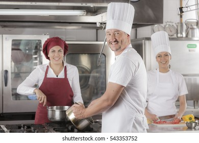 Chefs and cooks at work in a professional restaurant kitchen