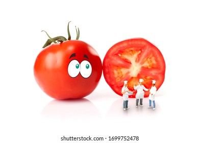 Chefs, in front of fresh tomato with eyes, isolated on a white background