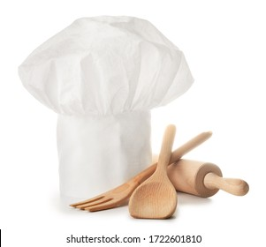 Chef's hat and kitchenware on white background