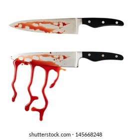 Chef's steel knife with a blood stains isolated over white background, set of two foreshortenings