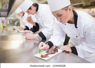 Chef's team garnishing slices of cake in the kitchen