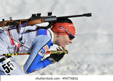Cheile Gradistei, Roamania - January 30: Unknown competitor in IBU Youth&Junior World Championships Biathlon 24th of January 2016 to 02 February 2016, in Cheile Gradistei, Romanaia