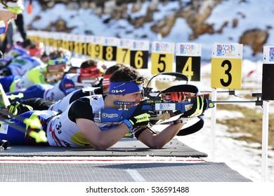 Cheile Gradistei, Roamania - January 30: Unknown competitor in IBU Youth&Junior World Championships Biathlon 24th of January 2016 to 02 February 2016, in Cheile Gradistei, Romanaia