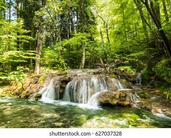 Cheile Nerei - Beusnita waterfall in the Carpathian Mountains, Romania