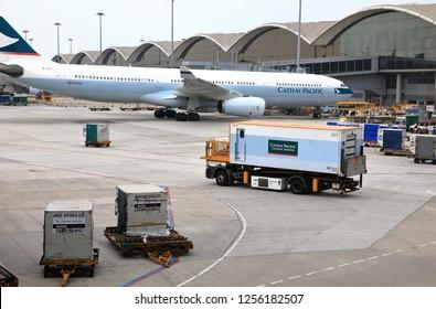 Chek Lap Kok Airport, HONG KONG - NOV 2018: Ground Handling services, Pre-flight service and catering operate at Hong Kong International Airport