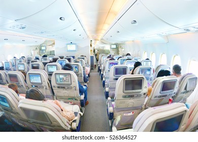 Chek Lap Kok, Hong Kong international Airport - NOVEMBER 17, 2016: Airbus A380 EMIRATES, Interior Economy class with TV Touch screen in Emirates Airlines in Hong Kong