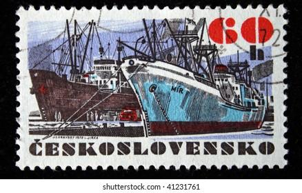 "CHEKHOSLOVAKIA - CIRCA 1972: A Stamp printed in Chekhoslovakia shows ship ""Mir"", circa 1972"