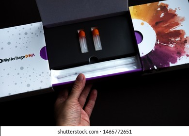 Chekhov, Russia - July 19, 2019: MyHeritage DNA DNA test for self use from American MyHeritage company
