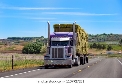 Chelan, Washington state, USA - December 20, 2017: Semi truck with trailer driving on highway