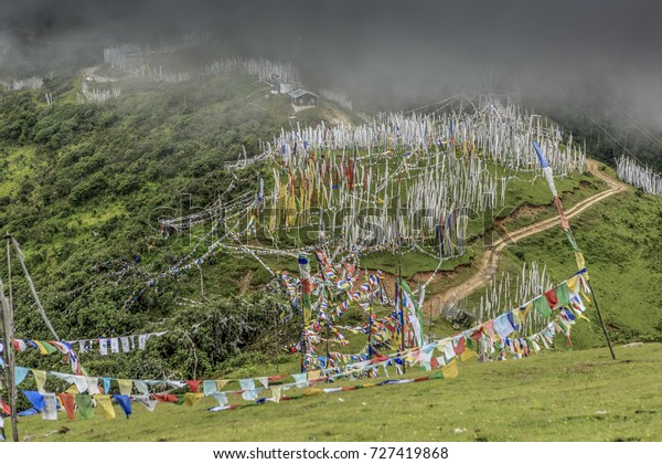 Chele La pass in Bhutan stands over 4,000 metres above sea level and lies between Paro and the Haa Valley.  Many prayer flags can be found in this area.
