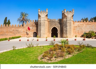 Chellah entrance gate. Chellah is a medieval fortified necropolis located in Rabat, Morocco. Rabat is the capital of Morocco.