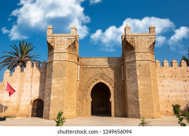 Chellah entrance gate. Chellah or Sala Colonia is a medieval fortified necropolis located in Rabat, Morocco. Rabat is the capital of Morocco , Africa. Park full of old ruins and history
