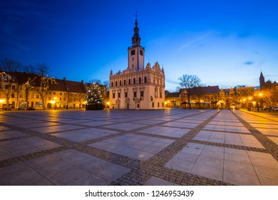 CHELMNO, POLAND - DECEMBER 10, 2017: Architecture of the old town of Chelmno at night, Poland. Chelmno is a historical town in northern Poland.