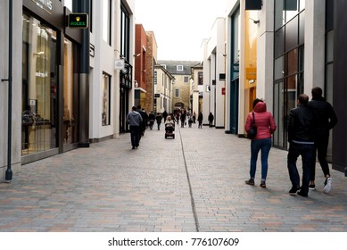 CHELMSFORD, ENGLAND 7TH NOVEMBER 2017 - Shoppers during the daytime walking through the newly constructed Bond Street