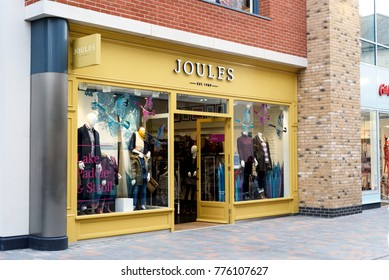 CHELMSFORD, ENGLAND 7TH NOVEMBER 2017 - Exterior outdoors shot in daylight of the high street fashion brand Joules with nobody in the scene