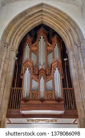 CHELMSFORD, ENGLAND - JULY 18 2018: Nave organ pipes of Chelmsford Cathedral, Chelmsford, Essex, UK