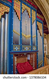 CHELMSFORD, ENGLAND - JULY 18 2018: Chancel organ pipes of Chelmsford Cathedral, Chelmsford, Essex, UK