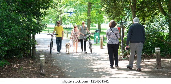Chelmsford, Essex - 1st August 2017 - People enjoy some out walking, cycling at Hylands House Chelmsford, Essex UK, popular with dog walkers