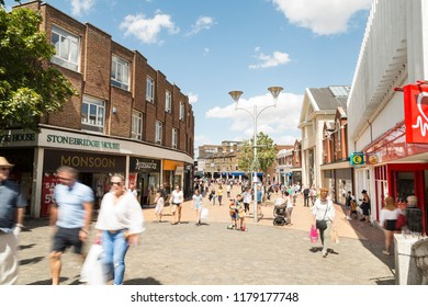 Chelmsford, Essex, UK 28 July, 2018 - British people enjoying walk in sunny nice weekend on the Chelmsford High street - Essex, UK