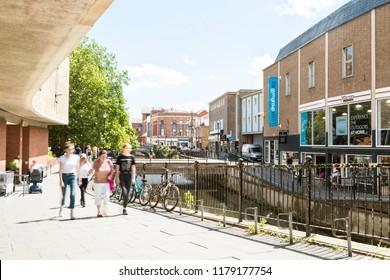 Chelmsford, Essex, UK 28 July, 2018 - British people enjoying walk in sunny nice weekend on the Chelmsford High street - Essex, UK