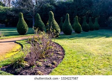Chelmsford, Essex / UK - FEB 24 2019: tree sculptures in the park