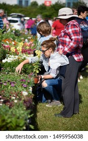 CHELMSFORD, ESSEX/ENGLAND - JUNE  1ST 2019  - People visiting a car boot sale and buying garden plants in Boreham Essex where they can buy cheap and unusual items during the summer of 2019