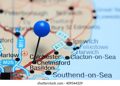 Chelmsford pinned on a map of UK