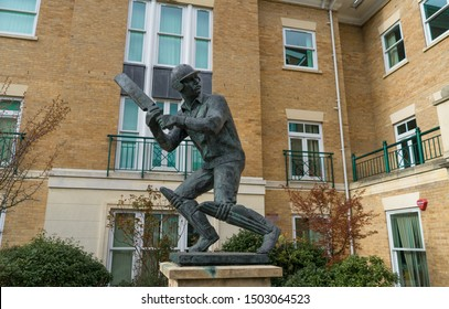 Chelmsford / United Kingdom - march 17 2017: The bronze statue of the English first-class cricketer who captained Essex and England, Mr Graham Gooch in action as batsman. Sculptor John Doubleday
