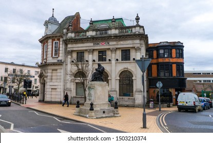 Chelmsford / United Kingdom - March 17 2017: The Shire Hall and Tindal Square. Town's oldest building, HSBC bank office and statue to Judge Nicolas Conyngham Tindal, Chief Justice of the Common Pleas.