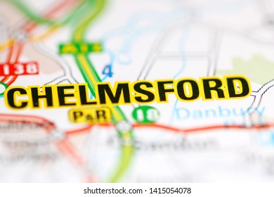 Chelmsford. United Kingdom on a geography map
