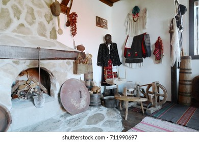 "CHELOPEK, BULGARIA - AUGUST 06, 2017: ""Baba Iliytsa"" House Museum of life and local history and ethnography familiarizes the visitor with typical architecture and objects characteristic of this region"