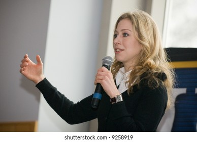 Chelsea Clinton, daughter of U.S. Senator Hillary Clinton (D-NY), campaigns to young voters for her mother at the University of Delaware, February 4, 2008.