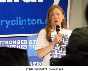 Chelsea Clinton speaks at a rally on behalf of her Mother, 2016 Democratic Presidential nominee, Hillary Clinton, at a rally in Westerville, Ohio on Thursday, September 15 2016