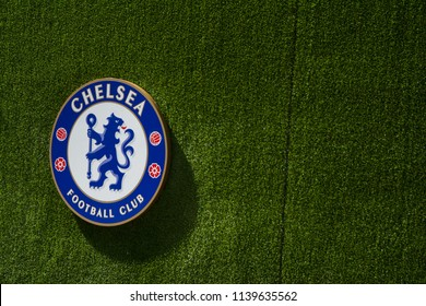 Chelsea football club logo on green background in London, England on May 07, 2018.