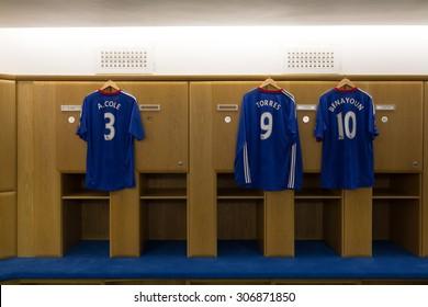 Chelsea Football Club London, UK : Chelsea Football Club Jul 5, 2011. Visit to Chelsea Football Club in changing room, locker room