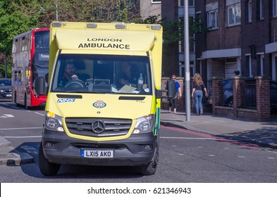 Chelsea London United Kingdom - 8 April 2017: London Ambulance on a call