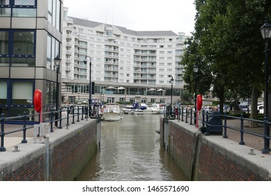 Chelsea, London / United Kingdom - July 28 2019: The marina at Chelsea Harbour.
